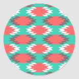 Aztec Native American Turquoise and Pink Pattern Round Stickers