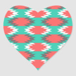 Aztec Native American Turquoise and Pink Pattern Heart Stickers