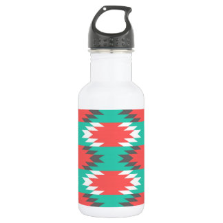 Aztec Native American Turquoise and Pink Pattern Water Bottle