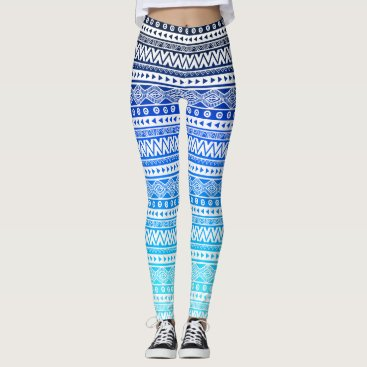 Beach Themed Aztec Navy Aqua Blue Ombre Chevron Tribal Leggings
