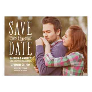 "Aztec Overlay 2 | Save the Date Announcement 5"" X 7"" Invitation Card"