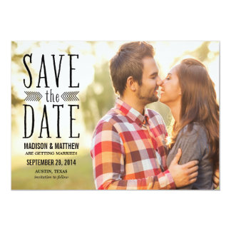 "Aztec Overlay | Save the Date Announcement 5"" X 7"" Invitation Card"