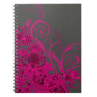 Aztec Paisley bridal planner - fuschia charcoal Spiral Notebook