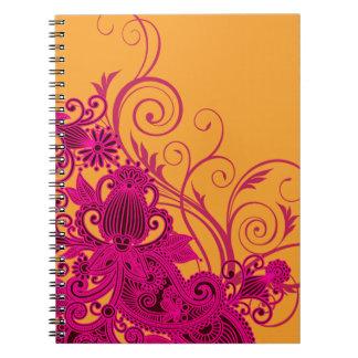 Aztec Paisley bridal planner - fuschia nectarine Notebooks