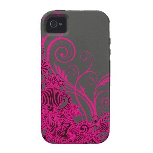 Aztec Paisley designer - fuschia charcoal Vibe iPhone 4 Cover