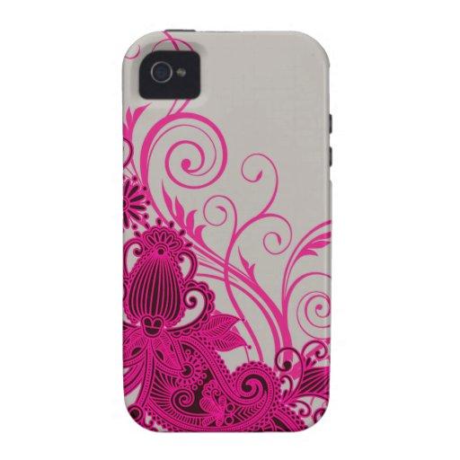 Aztec Paisley designer - fuschia grey Case-Mate iPhone 4 Cover