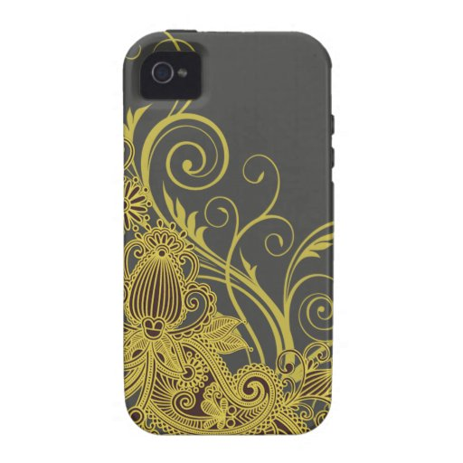 Aztec Paisley designer yellow charcoal Vibe iPhone 4 Case