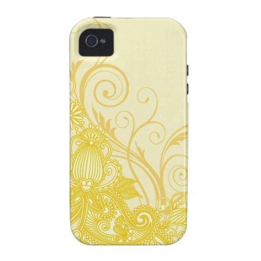 Aztec Paisley designer yellow eggshell iPhone 4 Covers