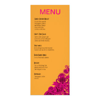 Aztec Paisley Dinner Menu fuschia nectarine Card