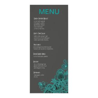 Aztec Paisley Dinner Menu - teal charcoal Card