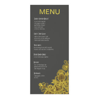 Aztec Paisley Dinner Menu yellow charcoal Card