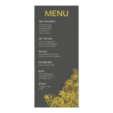Aztec Themed Aztec Paisley Dinner Menu yellow charcoal Card