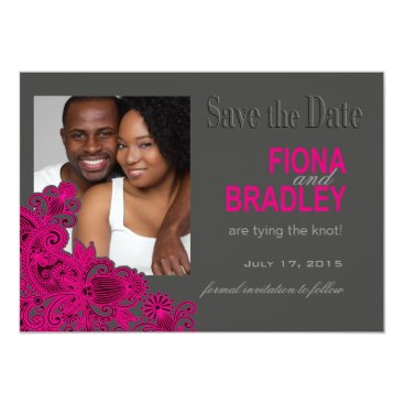 Aztec Themed Aztec Paisley Photo Save the Date fuschia Card