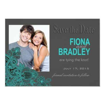 Aztec Themed Aztec Paisley Photo Save the Date teal Card