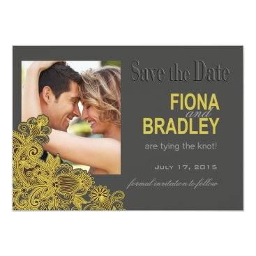 Aztec Themed Aztec Paisley Photo Save the Date yellow Card