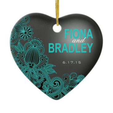 Aztec Themed Aztec Paisley photo - teal charcoal Ceramic Ornament