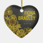 Aztec Paisley photo yellow charcoal Double-Sided Heart Ceramic Christmas Ornament