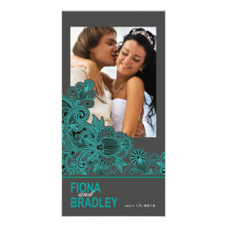 Aztec Paisley Thank You teal charcoal Card