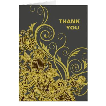 Aztec Themed Aztec Paisley Thank You yellow charcoal Card
