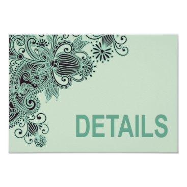 Aztec Themed Aztec Paisley Wedding Directions mint Card