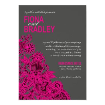 Aztec Themed Aztec Paisley Wedding fuschia charcoal Card