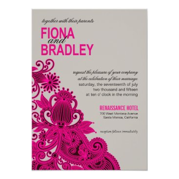Aztec Themed Aztec Paisley Wedding fuschia grey Card