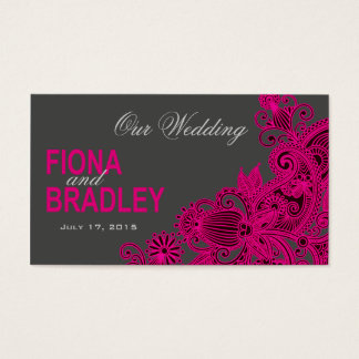 Aztec Paisley Wedding Website - fuschia Business Card