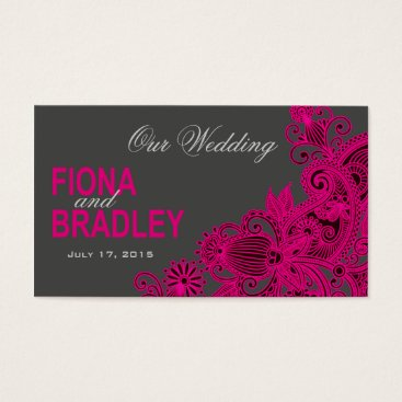 Aztec Themed Aztec Paisley Wedding Website - fuschia Business Card