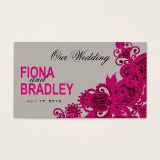Aztec Paisley Wedding Website fuschia grey Business Card