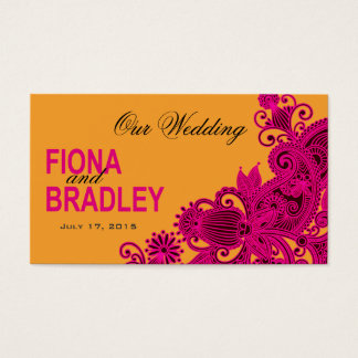 Aztec Paisley Wedding Website fuschia nectarine Business Card