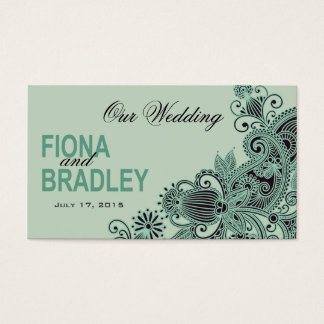 Aztec Paisley Wedding Website mint Business Card
