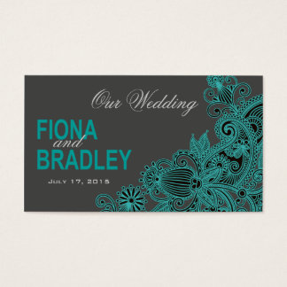 Aztec Paisley Wedding Website - teal Business Card