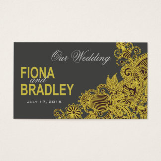 Aztec Paisley Wedding Website yellow charcoal Business Card
