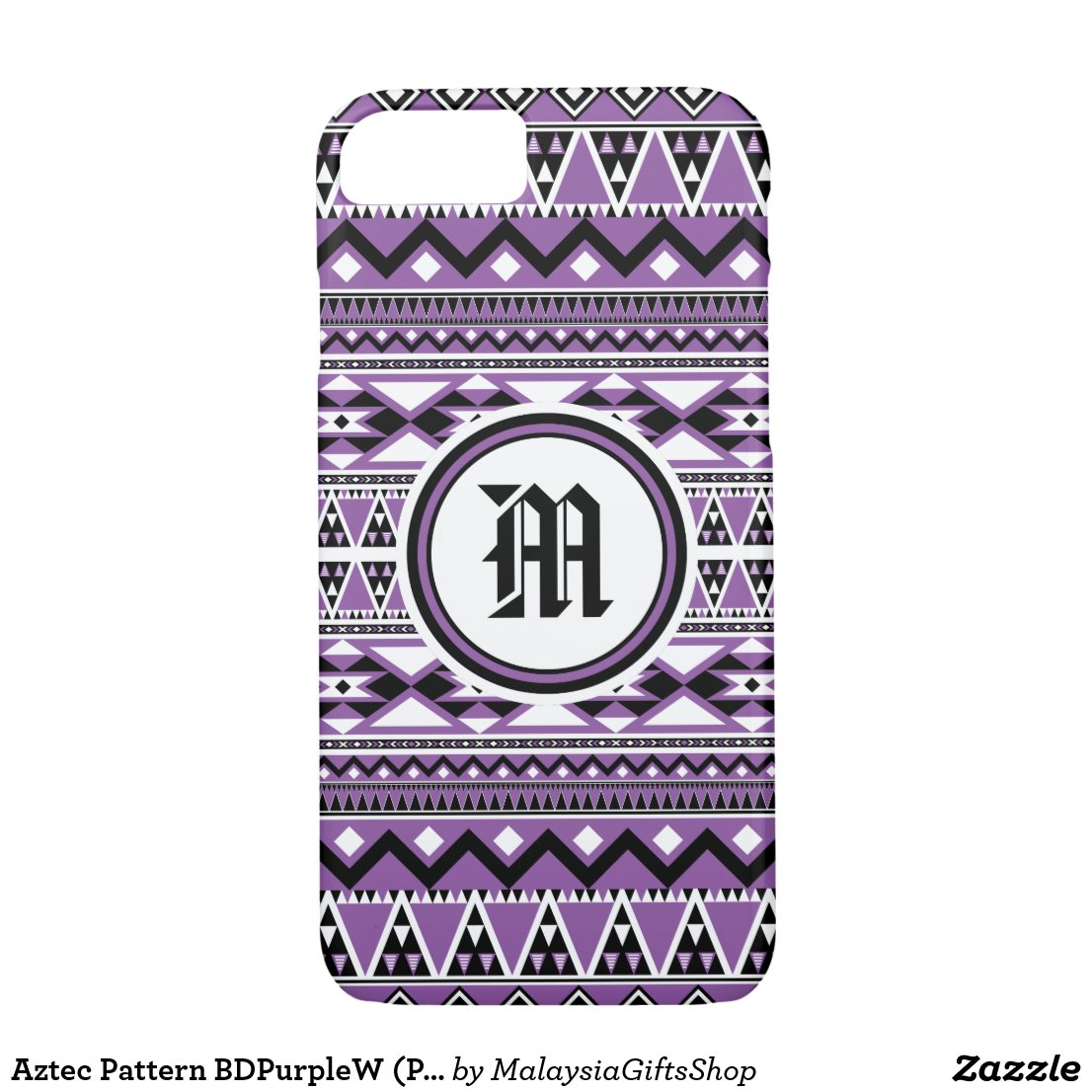Aztec Pattern BDPurpleW (Personalize Monogram) iPhone 7 Case