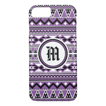 Aztec Themed Aztec Pattern BDPurpleW (Personalize Monogram) iPhone 8/7 Case