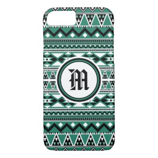 Aztec Pattern BEmeraldW (Personalize Monogram) iPhone 7 Case