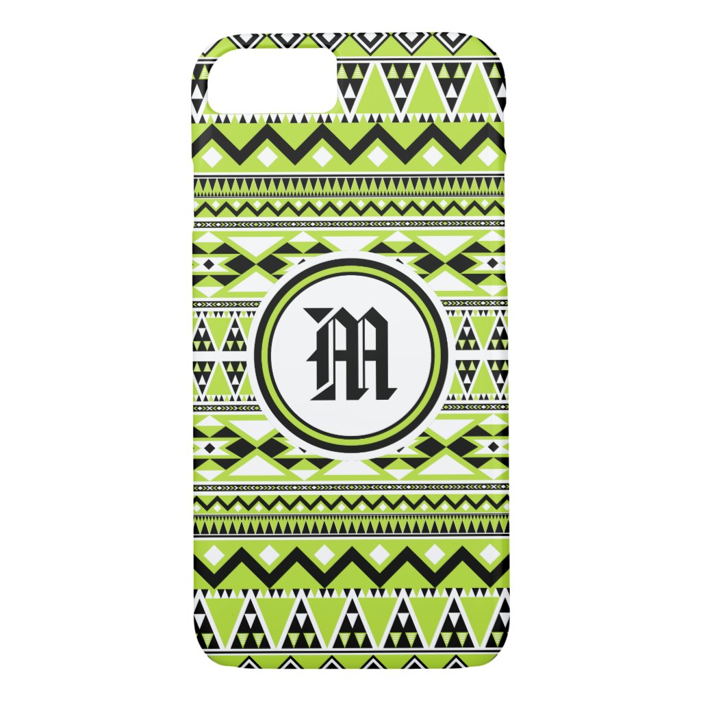 Aztec Pattern BGW (Personalize Monogram) iPhone 7 Case
