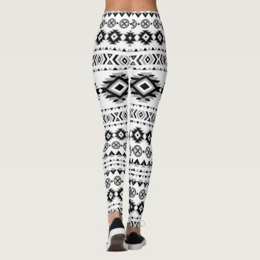 Aztec Themed Aztec Pattern Black and White Leggings