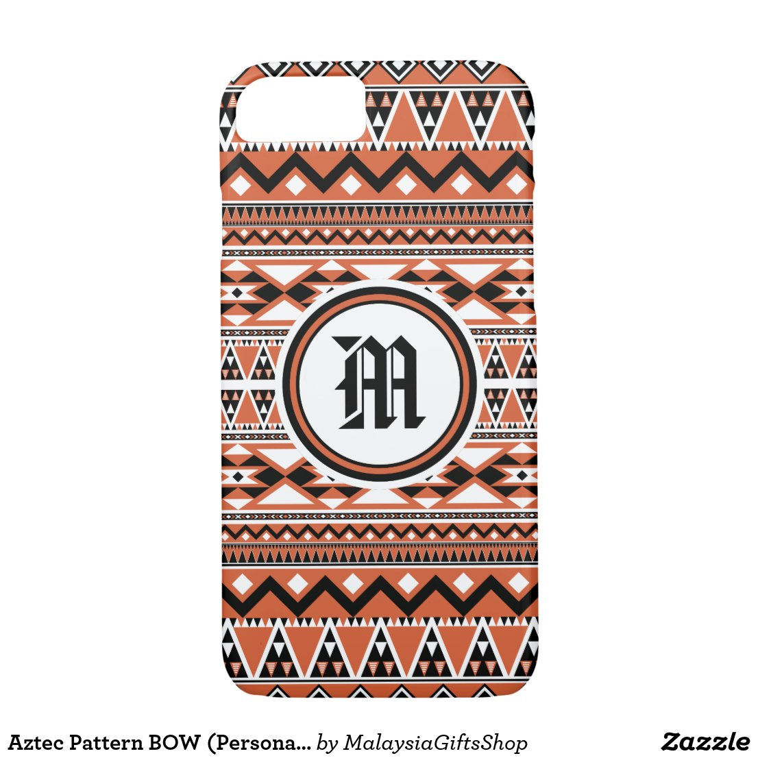 Aztec Pattern BOW (Personalize Monogram) iPhone 7 Case