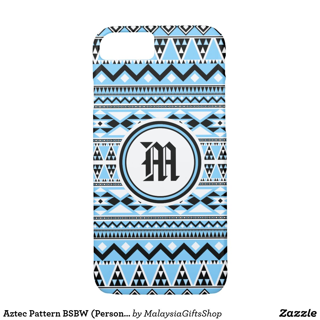Aztec Pattern BSBW (Personalize Monogram) iPhone 7 Case