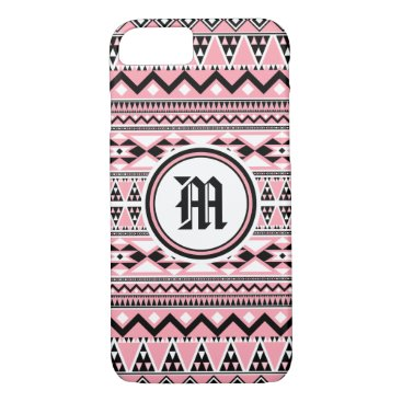 Aztec Themed Aztec Pattern BSPinkW (Personalize Monogram) iPhone 8/7 Case
