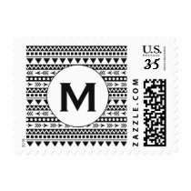 Aztec Pattern custom monogram postage stamps