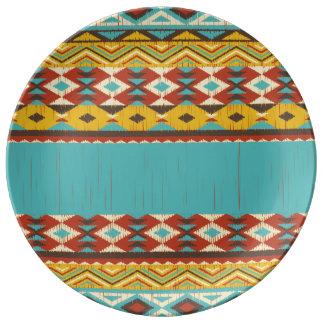 Aztec Pattern Decorative Ceramic Bowl Dinner Plate