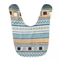 Aztec Pattern in Blue and Wood Grain Bib