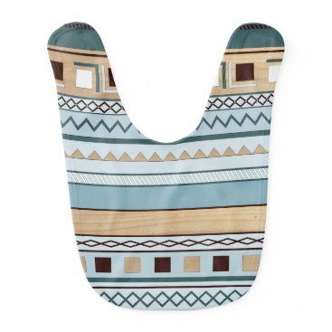 Aztec Themed Aztec Pattern in Blue and Wood Grain Bib