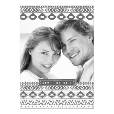 Aztec Themed AZTEC PATTERN PHOTO SAVE THE DATE ANNOUNCEMENT