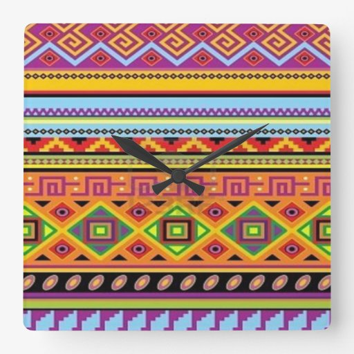 Aztec Pattern Popular Affordable Design Square Wallclocks