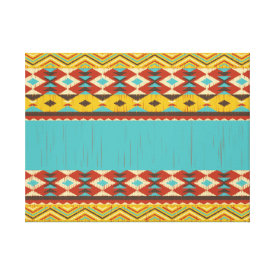 Aztec Pattern Stretched Canvas Print