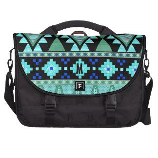 Aztec patterns blue/mint/green Commuter Laptop Bag