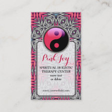 Aztec Pink Joy YinYang New Age Yoga Business Card